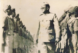 Netaji Subhas Chandra Bose reviewing the troops of Indian National Army - 1940's