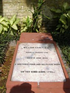 William Carey's tombstone at the Serampore Christian burial grounds (Photo from http://www.careyfamilynetwork.co.uk)