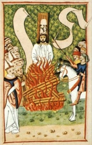 Jon Hus being burnt at the Stake. Janíček Zmilelý z Písku - Jena codex