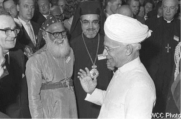 Dr Radhakrishnan, vice-president of India (right) greeting Bishop S. U. Barbieri, Metropolitan Juhanon Mar Thoma and Archbishop Iakovos during the Third Assembly of the WCC in New Delhi, November 18 - December 6, 1961. (Photos - from the Archives of wcc-coe.org)