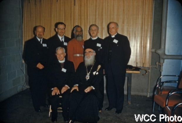 The six new elected Presidents of the World Council of Churches (1954). Standing, left to right, the are Bishop Dibelius of the Evangelical Church of Germany, Bishop Barbieri of the Methodist Church in Argentina, Metropolitan Juhanon of the Mar Thoma Syrian Church of Malabar, India, the Very Rev. John Baillie of the Church of Scotland, Bishop Sherril of the Protestant Episcopal Church of the U.S.A. Seated, left to right, Bishop bell of the Church of England (Honorary President), Archbishop Michael of the Eastern Orthodox Church in North and South America.