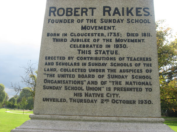 Inscription on the tomb of Robert Raikes.