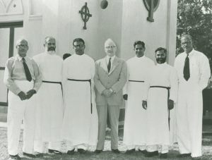 C. John Thomas, Rev. T. N. Koshy, P. C. John, Dr. E. Stanley Jones, Rev. V. E. Thomas, Rev. P. K. Koshy, and Mr. V. E. Chacko at St. Thomas Church, Klang Malaysia (1956)