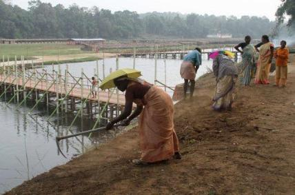 Maramon Convention preparations taking place. (Photo by Leju Kamal, The Hindu)