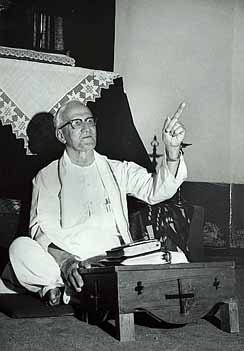 Rev. E. Stanley Jones giving one of his sermons at Sat Tal Ashram, India.