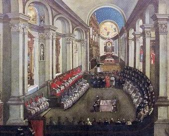 The Council of Trent meeting in Santa Maria Maggiore church, Trento (Trent). (Artist unknown; painted late 17th century.)