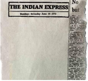 28 June 1975 : Blank Edit  Page in The Indian Express Newspaper in Protest Against the Emergency