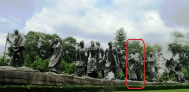"""Gyarah Murti"" or ""Eleven Statues with the priest highlighted in Red."