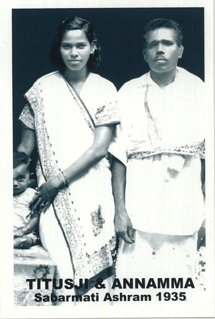 Titusji and his wife Annama with daughter Aleyamma at Sabarmati Ashram 1935