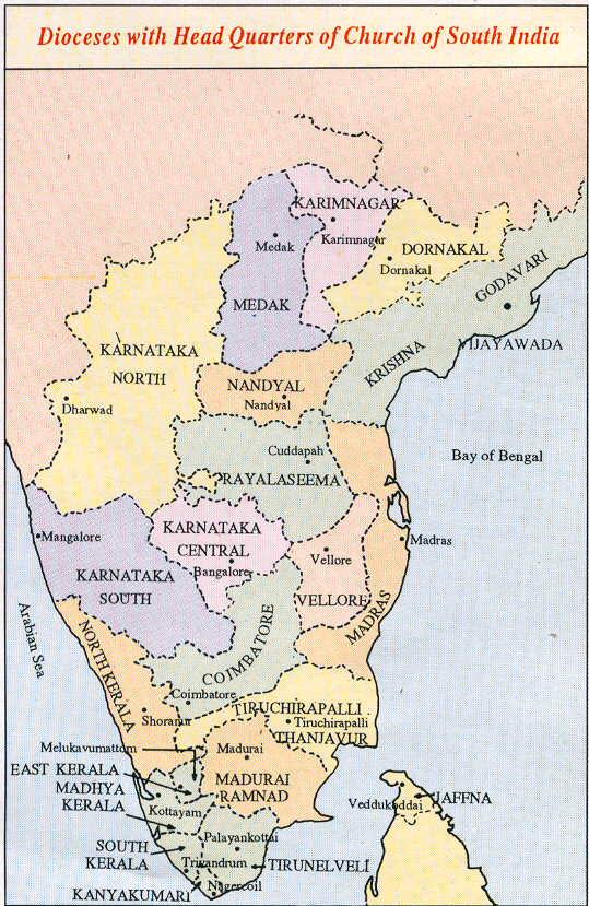 CSI Diocese map